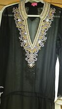 Tunic Beaded Beach Resort Wear India Resort Wear Kaftan Black Gold Mauve New L