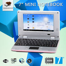 """New 7"""" Inch 4GB Pink Android 4.0 Mini Notebook Laptop WIFI Computer PC Kids"""