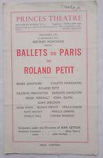 BALLETS DE PARIS DE ROLAND PETIT.CARMEN.PRINCES PROGRAMME 45-6.R JEANMAIRE.PETIT