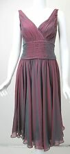TADASHI Cranberry Turquoise Irridescent Silk Chiffon Ruched Dress sz 6