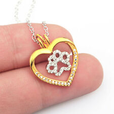 Dog Paw Puppy in the Eternity Open Heart Necklace CZ in 925 Sterling Silver