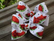 "Hair Bows a pair of Medium 2"" Red, Green and black Watermelon grossgrain USA"