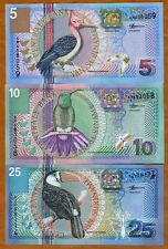 SET Suriname / Surinam, 5;10;25 Gulden, 2000, P-146;147;148 UNC   Birds, Flowers
