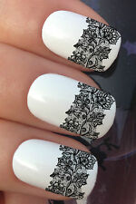NAIL ART SET #682 32.5CM LACE FLOWER MESH STRIPS WATER TRANSFER DECALS STICKERS