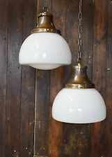 Vintage Opaline School House Pendant Light – 5 available rewired