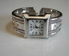 SILVER FINISH WITH STONES DESIGNER STYLE ELEGANT WOMEN'S BANGLE CUFF WATCH