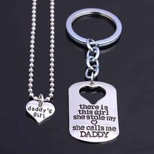 DADDY'S GIRL FATHER DAUGHTER NECKLACE CHARM KEY RING KEY CHAIN PENDANT SET #KC1