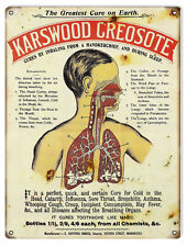 Reproduction Karswood Creosote Cold Medicine Sign 9X12