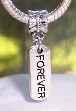 Forever Inspirational Message Tag Love Dangle Bead fits European Charm Bracelet