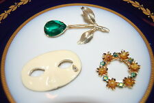 WONDERFUL VINTAGE SET OF THREE ASSORTED PINS OR BROOCHES AS PER PICTURES # M-002