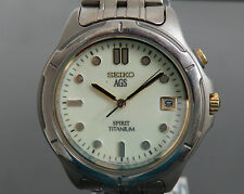 100% Authentic SEIKO AGS SPIRIT TITANIUM Electronic Balance Mens Watch 5M22-6B50