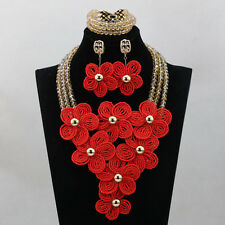 Handmade Flower Brooches African Beads Bridal Wedding Party costume Jewelry Set
