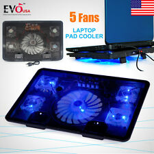 "5 Fans Blue LED USB Port Cooling Stand Pad Cooler For 12""-17"" Laptop Notebook"