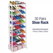 10 Tier 30 Pair Shoe Rack Storage Free Standing Metal And Plastic Shoe Organizer