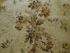 Antique French Garland Ribbons Roses Tapestry Fabric~Earth Tones Brown Lavender