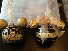 MINNIE  & MICKEY MOUSE INSPIRED BLACK & GOLD  EARS CHRISTMAS TREE BAUBLES