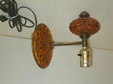 Vintage Wall Hanging Amber Glass Lamp Diamond Cut