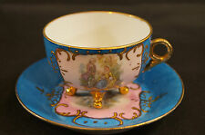 Victoria Lazarus Courting Couple & Cherubs Tea Cup & Saucer C 1883 - 1885
