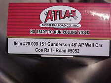 atlas HO 20 000 151 Gunderson 48' AP well car..road COE Rail #5052..never opened
