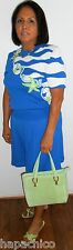 ST JOHN MARIE GRAY SANTANA Vintage Shorts Blouse Top Suit Set Blue White Stars