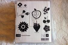 "STAMPIN' UP! ""Fruit & Flowers"" Wood Unmounted rubber stamp Set of 9 NEW"