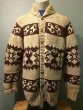 Vintage Wool Cowichan Sweater Dude Lebowski Shawl Roll Collar Knit Mens Lined