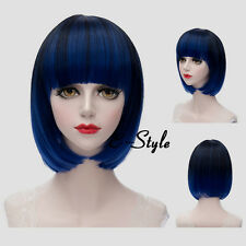 Blue Gradient Black Wavy 30CM Short Lolita Women Bob Daily Party Cosplay Wig