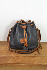 Vintage Dooney Bourke Black Leather Shoulder Bag / Drawstring Bucket Purse