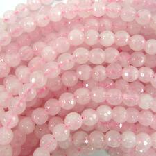 """6mm faceted rose quartz round beads 15"""" strand"""