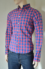 NEW Abercrombie & Fitch Shaw Pond Shirt Navy & Red Plaid Check M RRP £82