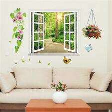 3D Window Sun Garden Room Home Decor Removable Wall Stickers Decals Decoration