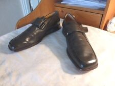 "HERMES BlacK WALKING CLOSED SHOES SIZE 40-9.5 leather 11"" LonG VELCRO OXFORDS"
