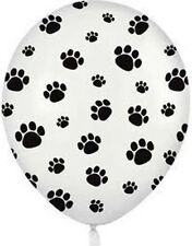 "(12) Quantity Paw Print Black White Dog Cat Animal Latex 11"" Balloon Party Decor"