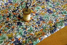 Antique Vtg. French Abstract Floral Cotton Fabric ~ Ink Blue Mustard Aqua Orange