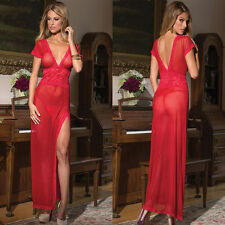 Sexy V Neck Sheer Lace Nightwear Lingerie Dress Gown G-String Red