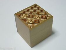 By OKA 54mm Cube 2steps Yosegi Natural wood Japanese Wood Puzzle Box Brand NEW