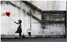 """BANKSY STREET ART *FRAMED* CANVAS PRINT There is always hope 24x16"""" stencil -"""