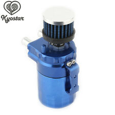 Aluminum Car Racing Engine Baffled Oil Catch Can Tank Blue with Breather Filter