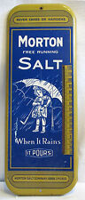 Vintage Morton Salt Thermometer Advertising Sign Works! Tin - Metal