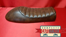 LS6 CAFE RACER FLAT TRACKER BRAT SCRAMBLER SEAT FINISHED IN BROWN LEATHERETTE