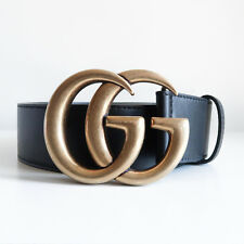 BN GUCCI 'leather belt with double g buckle' black antique gold 4cm thick 80