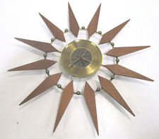 Vintage Elgin MCM Wood Starburst Atomic Battery Operated Wall Clock