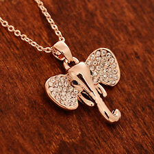 RF 24K Rose Gold Plated Crystal Shiny Elephant Head Chain Pendant Necklace
