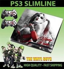 PLAYSTATION PS3 SLIM STICKER HARLEY QUINN ARKHAM BATMAN SKIN & 2 PAD SKINS