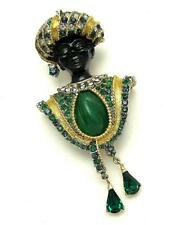 Vintage BOUCHER Blackamoor Turban Faux Jade Inset Emerald Green Pendants Brooch