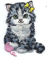 KITTEN w/PINK YARN BALL & YELLOW HAIR BOW/Iron On Embroidered Applique/Cats,Pets