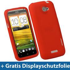 Rot Silikon Tasche für HTC One X + Plus Android Etui Hülle Skin Case Eins 1