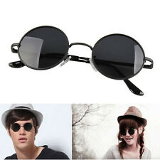 New Unisex Vintage Black Round Circular Frame Shades Glasses Sunglasses