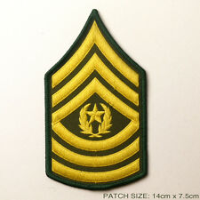 US ARMY 'COMMAND SERGEANT MAJOR' Rank Chevron Stripes of Iron-On Patch, Iron-On