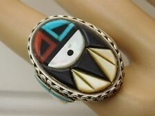 Vintage Zuni DON C. DEWA Inlay SUNFACE Sterling Silver Turquoise MEN's Ring sz11